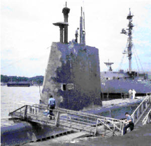 USS Diodon SS349 (A GII Guppy) Westpac 1967. SNORKEL INDUCTION & EXHAUST MASTS RAISED