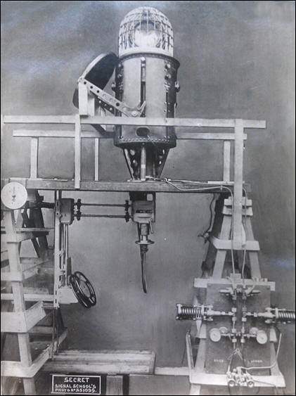 The ASDIC Type 113X Turret ready to be installed in Submarine X1. This is a mock-up showing the Control Wheels and the hinged Turret Cover. The framework covering the Oscillator was to be fitted with a canvas cover as on H32 but, in practice, it was replaced with a thin copper dome. This item was extremely fragile and when removed for maintenance required careful handling.