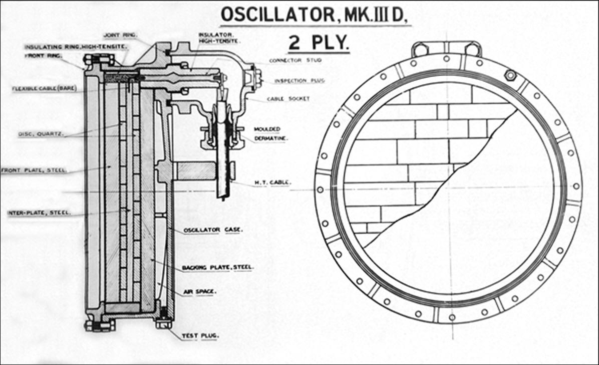 Drawing showing the 2-Ply quartz Oscillator of ASDIC Type 113X