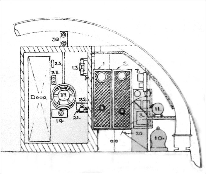 Section looking aft through the sound-insulated Silent Compartment on the left, where the operator sat, and the ASDIC Office to the right, containing the electrical equipment.