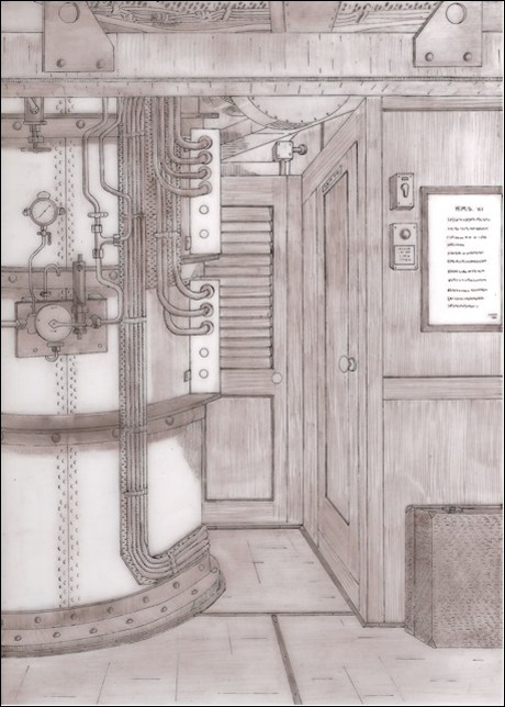 David Hills drawing of A Class Turret Trunking with, on the right, the door to the ASDIC Silent Compartment