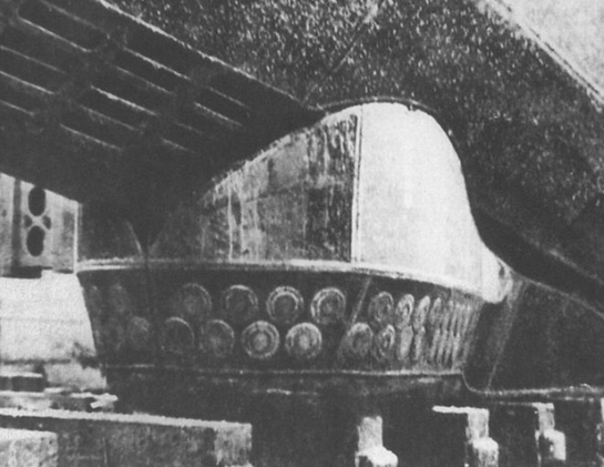 Fig 3b. Late type VIIC and VIIC/41 U-boats were fitted with the GHG passive sonar array. It was fitted under the bow, below the torpedo tubes, as shown here on U-1105
