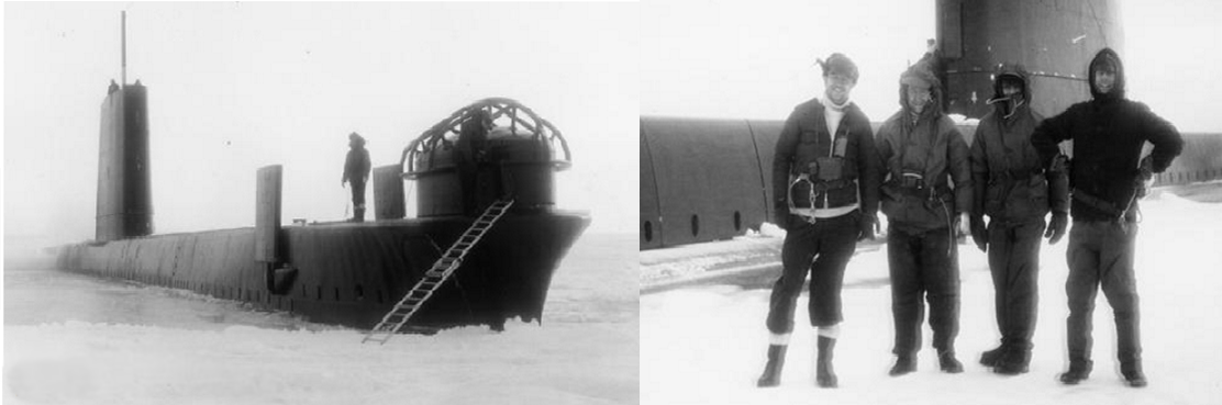 Fig 8: During exercise Portent, Lt Cdr Owen, CO of HMS Opossum and members of the crew ashore of the pack ice at 76 degrees north, the furthest a conventionally powered submarine had been in 1965. Note the protective cage over the sonar dome.