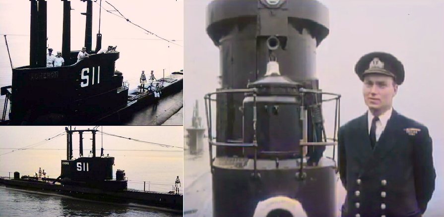 HMS Acheron, painted black with pennant number. The unusual vertical extension above the as-built gun tower hatch is thought to be a housing for scientific eqiupment as described above concreneing measurement of global gravity. The officer is thought to be Lt J C Harrision RNVR, a prominent Geophyscist, who judging by his medals served in WW2.
