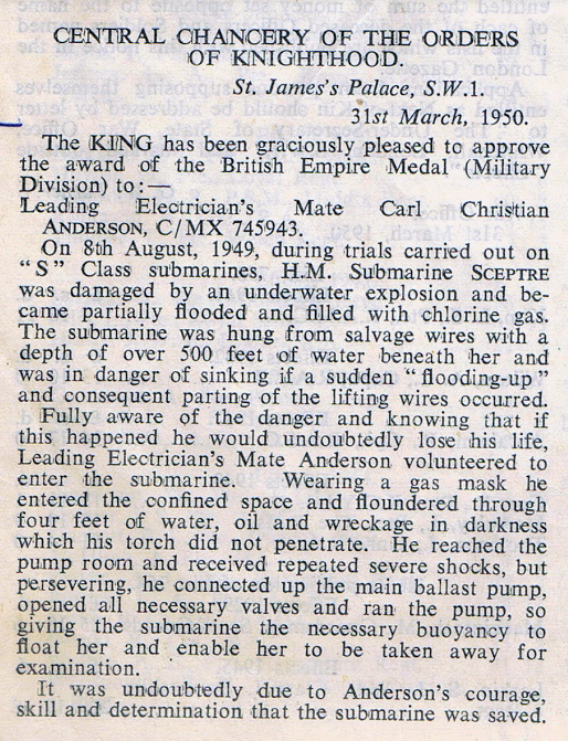 Citation from the London Gazette. Friday , March 31st, 1950