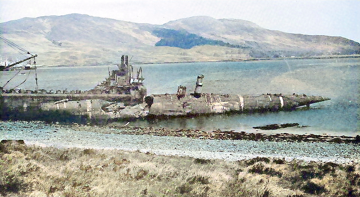 HMS Stoic after being submerged to destruction. Stoic was the same class as Sceptre, but not streamlined.