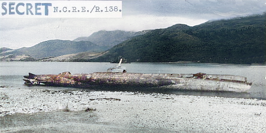 HMS Sceptre beached for examination of damage.