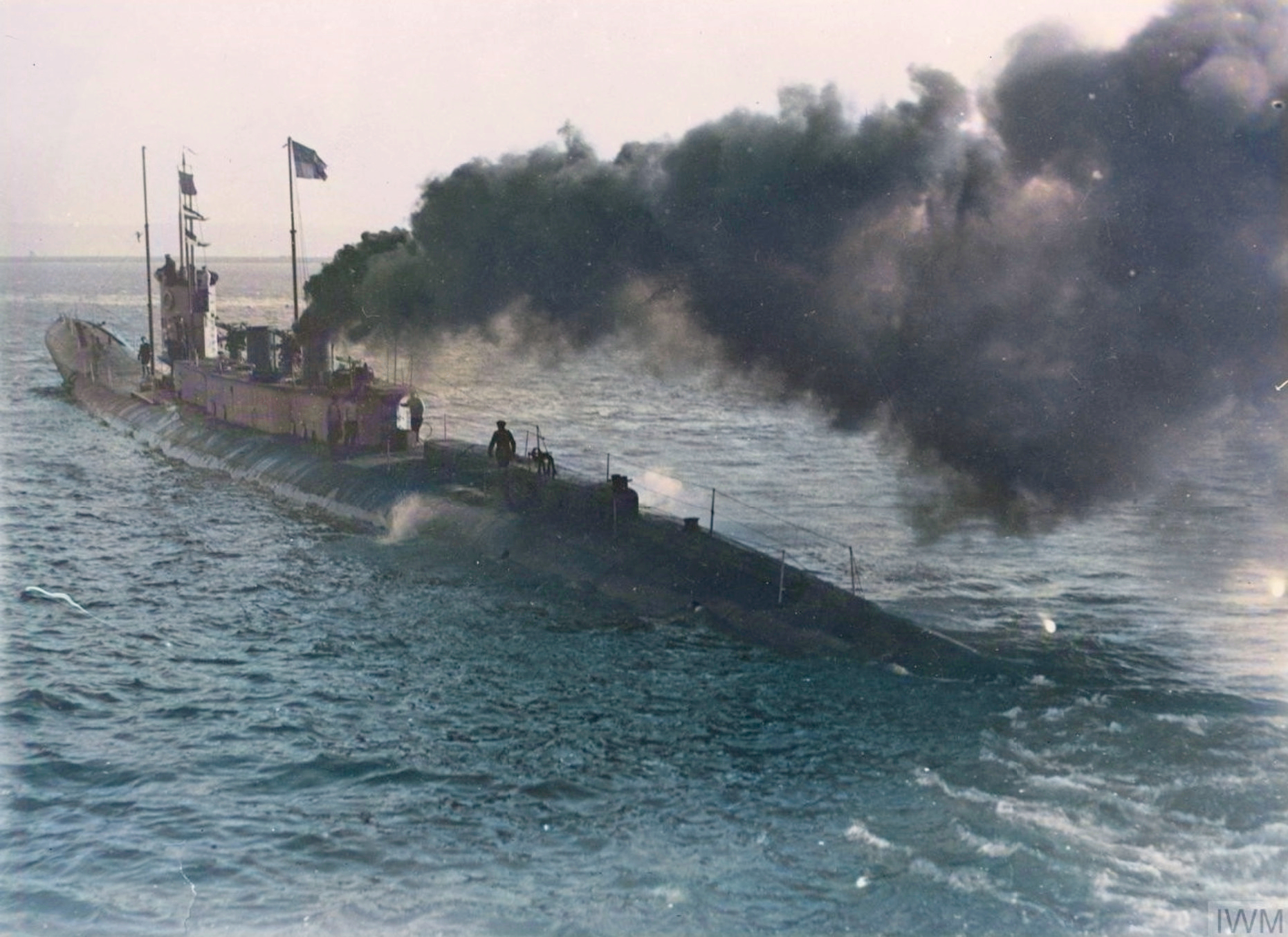 The British submarine K2 proceeding to the assistance of a ship in distress in the English Channel, 1922.