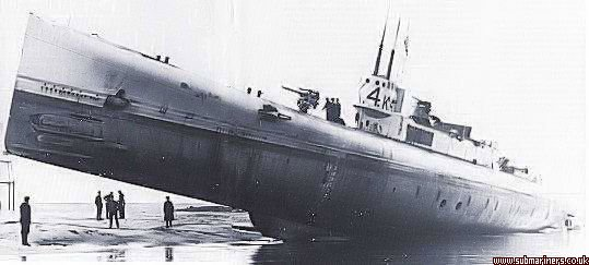 Although embarrassing for the shipbuilder, this rare photograph of K4 gives a good impression of the size, and a seldom seen view of a K Class Submarine