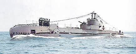 HMS Sea Devil in 1949. Note she still has the 'Bandstand' but no snort. No pennant number is displayed