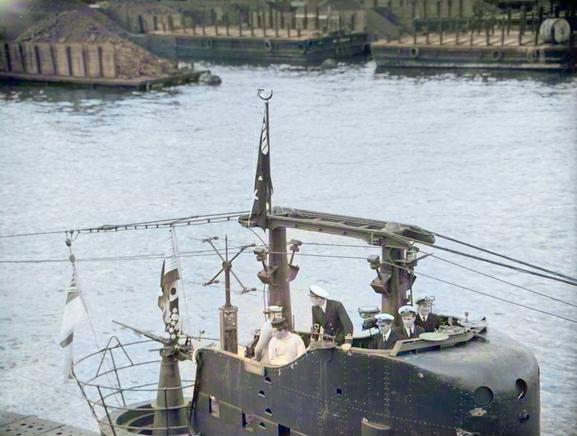 Torbay entering Algiers flying her Jolly Roger