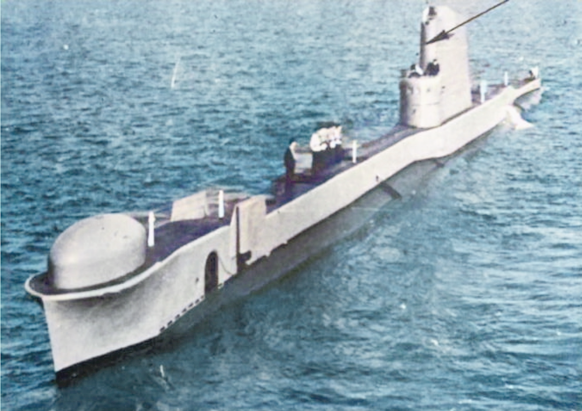 The dome for the trials combination sonar is clearly seen on the casing at the bow of the submarine. A similar dome housing Type 187 will become an icon of British submarine
