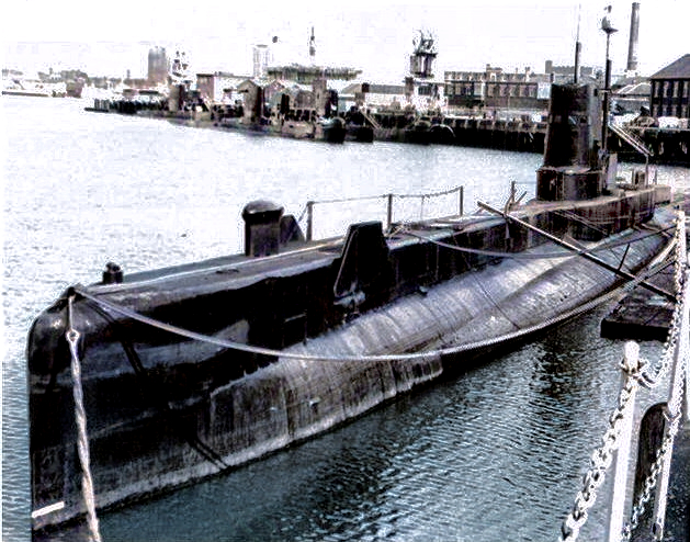 The later HMS Tireless. One of the five group three T Class streamlined in the early fifties. The bow shape is similar to later members of the five. Earlier it was a more conventional S Class shape. photographed at the end of her life as the school submarine at HMS Dolphin.