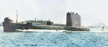 The later HMS Trump with upper con' on fin.