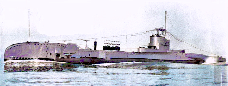 HMS Truncheon in 1951, prior to her conversion to an extended T boat, with minor structural modifications and a US Navy JT type sonar (tee shaped device on forward casing.