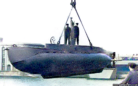 An X5 Class midget submarine being 'launched' into Buccleuch Dock