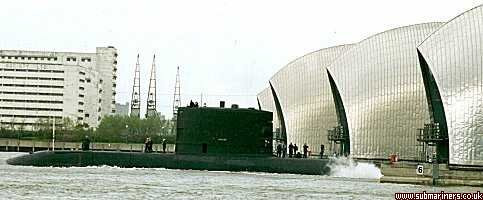 Upholder passing through the Thames barrier