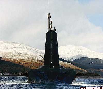HMS Vanguard leaving Faslane
