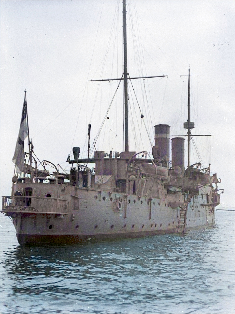 Stern view of HMS Bonaventure anchored at Spithead 1909