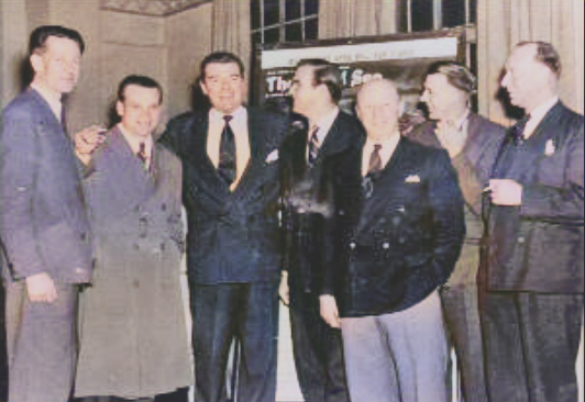 Bill Simpson (3rd from the right) with Jack Hawkins and Stanley Baker at the premiere of 'The Cruel Sea' in Portsmouth on 19th April 1953