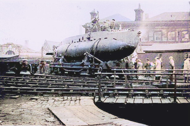 X Craft being prepared for transport from the Broadbent Works at Huddersfield