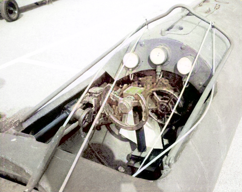 The cockpit of the Mk.II Chariot. The frame could be raised to protect the crew while passing through anti-torpedo nets and boom defenses.