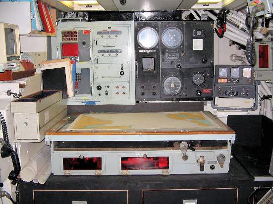 he ARL Table was introduced into the Fleet in the mid-1920s and persevered into the 1980s. The picture shows the table's the centre point of the navigation centre in HMS Courageous. Surrounded by SatNav, SINS, Decca, gyro and log readouts the table can b e used for both navigation and the LOP although some boats had a second table for this purpose.