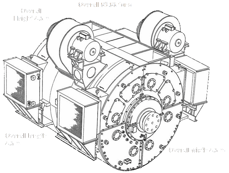 Fig 1b. Victoria Class dual armature motor showing the cooling fans and heat exchangers. Not shown are the electric motor driven lubrication pumps to force a film of oil under the journal bearings before starting, as is the normal practice in machines of this size. Built by GEC, UK.