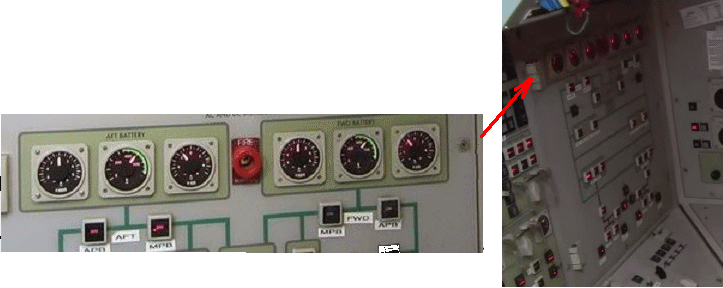 Fig 7c. These battey instruments are on the upper part of the console to the left of the helmsman.