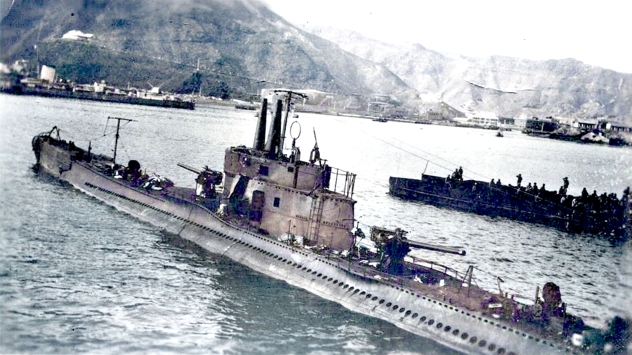Galileo Galilei (X2) at Aden after her capture showing the damage to her fin