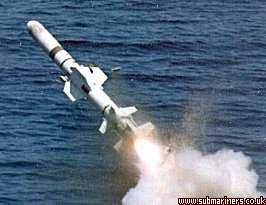 The submarine launched Harpoon UGM-84 is a sea-skimming anti-ship missile with maximum velocity in excess of 0.8 Mach and range in excess of 70 miles.